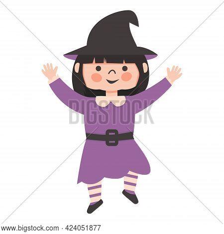 Halloween Kids Costume Party. Cute Little Girl In Halloween Witch Costume. Cartoon Vector Character