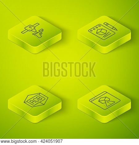 Set Isometric Line Sketch On Paper, Rgb And Cmyk Color Mixing, 3d Printer And Gun Icon. Vector