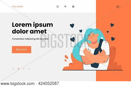 Happy Girl Hugging Bottle Of Vine. Flat Vector Illustration. Woman Being In Good Mood And Holding Gl