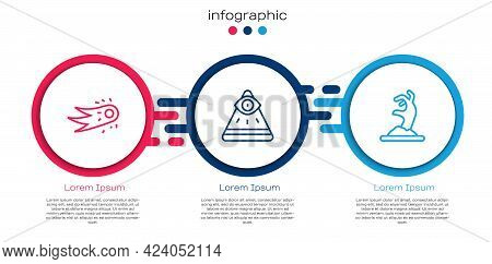 Set Line Fireball, Masons And Zombie Hand. Business Infographic Template. Vector