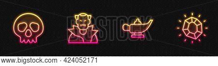 Set Line Magic Lamp Or Aladdin, Skull, Vampire And Stone. Glowing Neon Icon. Vector
