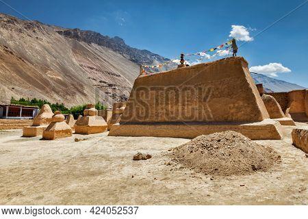 Tabo monastery of Tibetan Buddhist Gelug sect made of clay in Tabo village. Monastery is built on high Himalaya plato in tradition of Tibetan Buddhism. Tabo, Spiti valley, Himachal Pradesh, India