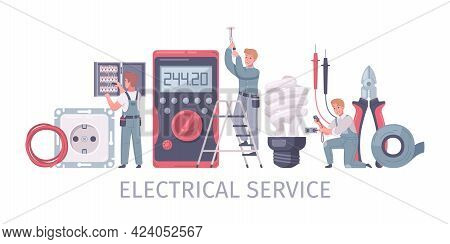 Electrician Cartoon Composition Of Text And Human Characters Of Repairmen With Power Socket Tape And
