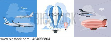 Air Transport 3 Square Banners Airplanes, Aerostats And Airships In The Clouds Flat Vector Illustrat