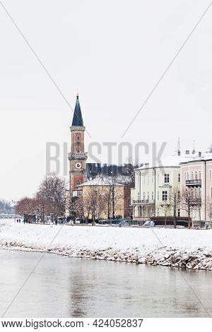 Salzach River.  A Mid Winter View Along The Salzach River In Salzburg, Austria Looking Towards The P