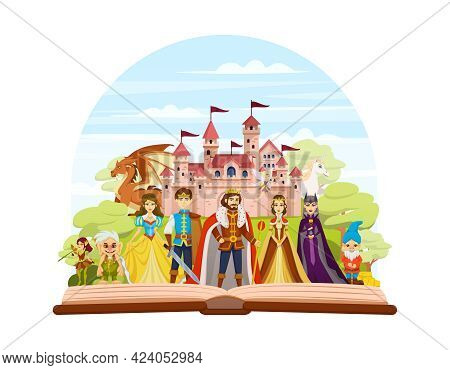 Fairy Tale Characters Cartoon And Colored Composition With An Abstract Scene Where The Characters Of