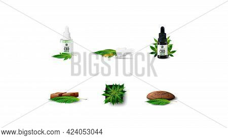 Set Of Volumetric Cannabis Industry Icons Isolated On White Background. Cannabis In A Pot, Cbd Oil A