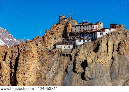 Dhankar Monastery on a cliff in Himalayas, Spiti Valley, Himachal Pradesh, India