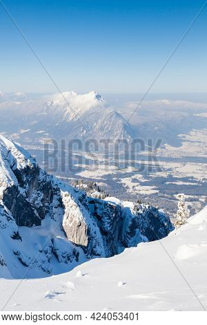The View From The Summit Of Untersberg Mountain In Austria.  Untersberg Straddles The German Border
