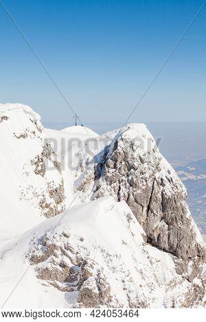 Untersberg Summit.  The View Across The Summit Of Untersberg Mountain In Austria Looking Towards A C