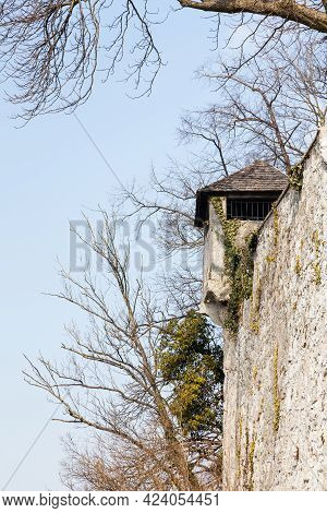 A Fortified Tower Adorns The Fortified Walls On Kapzinerberg.  Kapuzinerberg Is A Hill In Salzburg,