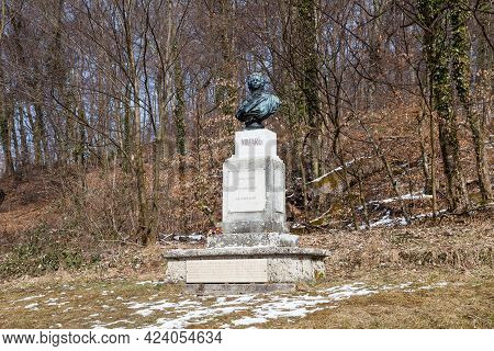 Salzburg, Austria - March 2:  A Statue To The Classical Composer Wolfgang Amadeus Mozart Located On
