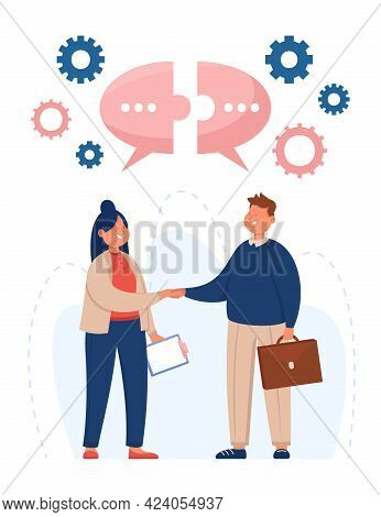 Business People Shaking Hands Flat Vector Illustration. Man And Woman Making Deal. Speech Bubbles In