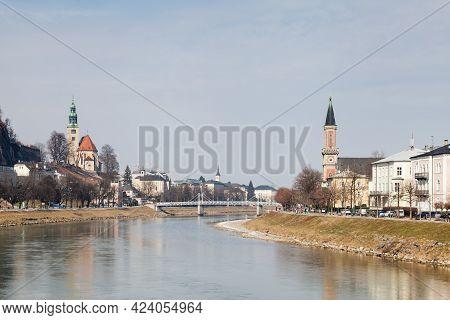 Salzburg, Austria - March 3: The Salzach River In Salzburg, Austria Looking Towards The