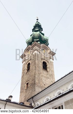 Salzburg, Austria - March 3:  A View Of The Bell Tower Of St Peters Abbey In Salzburg Pictured On Ma