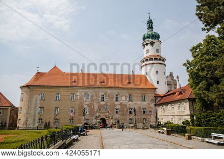 Baroque Romantic Castle Nove Mesto Nad Metuji, Renaissance Chateau With Round White Clock Tower, Red