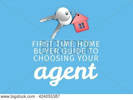 Composition of house agent text in white, with keys and house key fob, on blue. property and finance guide design template concept digitally generated image.