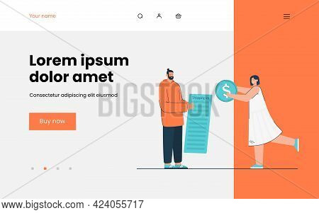 Man And Woman Going Shopping Vector Illustration. Male Character Holding Shopping List, Female Givin