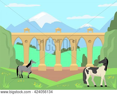Horses Grazing In Background Of Old Bridge And Landscape. Cartoon Vector Illustration. Summer Meadow