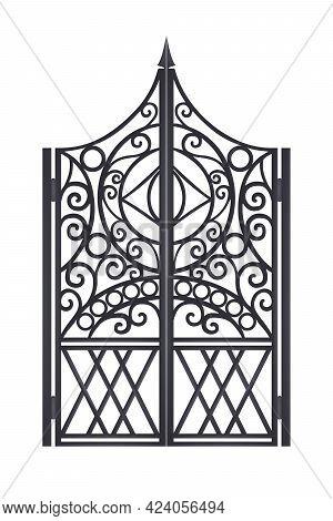 Iron Wrought Metal Gate, Vector Old Ornate Fence, Black Steel Garden, Mansion Antique Vintage Door.
