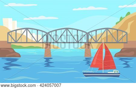 Sailboat With Red Canvas Sailing Under Bridge. Cartoon Vector Illustration. Ship With Red Sails Sail