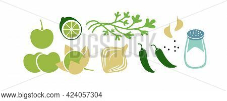 Fresh Raw Ingredients For Salsa Verde Or Green Salsa. Horizontal Vector Illustration Isolated On Whi