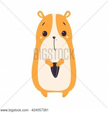 Cute Hamster Holding Sunflower Seed, Adorable Funny Pet Animal Character Cartoon Vector Illustration