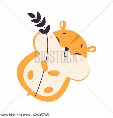 Cute Hamster Holding Wheat Ear, Adorable Funny Pet Animal Character Cartoon Vector Illustration
