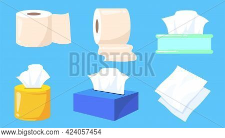 Set Of Tissue And Toilet Paper Rolls Cartoon Vector Illustration. Colorful Boxes Of Wet Wipes, Towel