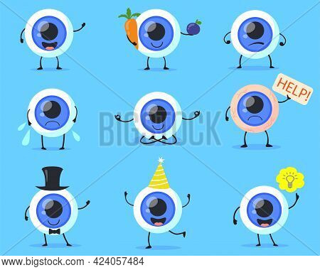 Set Of Cute Human Eyeball Character. Cartoon Vector Illustration. Sick Or Healthy Eye In Different P