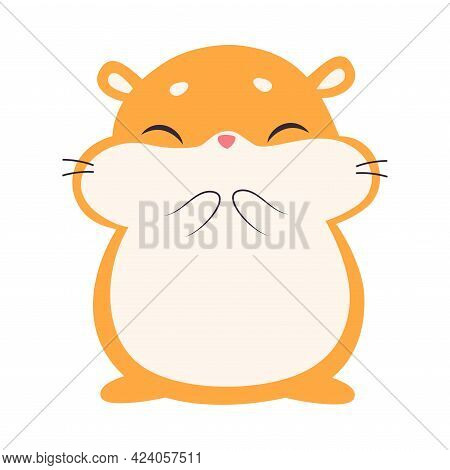 Cute Hamster, Adorable Funny Red Pet Animal Character Cartoon Vector Illustration