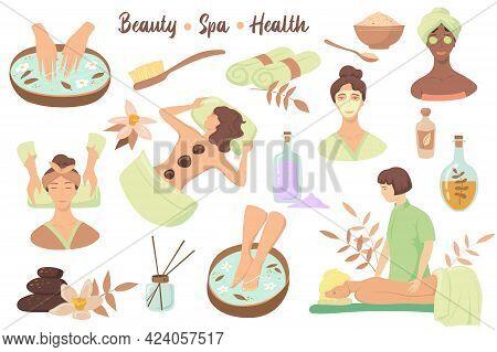 Set Of Beauty Symbols And Spa Procedures. Cartoon Vector Illustration. Women Enjoying Skin Care, Mas