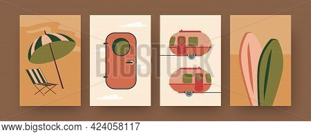 Set Of Contemporary Art Posters With Camping Trailers. Camper Door, Surfboards Cartoon Vector Illust
