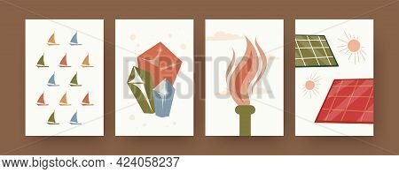 Set Of Contemporary Art Posters With Earth Resources. Solar Energy, Natural Gas, Minerals, Water Res