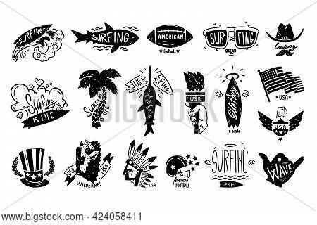 Surfing Black Retro Labels Set, Usa Wilderness, American Football Badges Vector Illustration