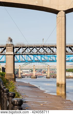 Newcastle Upon Tyne, England, England - May 21, 2018:  The View Beneath Redheugh Bridge Along The Ri