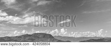 Luang Prabang Laos Landscape Panorama Mountain Range Black And White.
