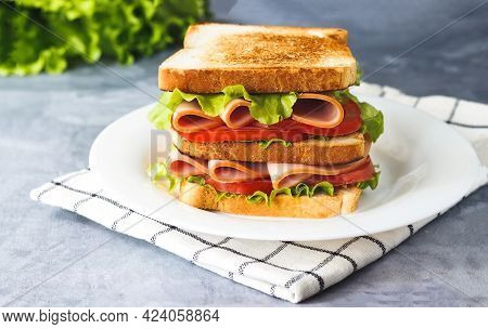 Sandwich With Tomato, Lettuce, Ham On Plate On Gray Background Side View