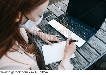 Outdoor Work Areas, Workplace. Take Office Outside, Work Moves Outdoors During Pandemic. Mobility, A