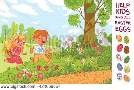 Egg Hunt. Help The Children Find 10 Hidden Easter Eggs In The Meadow. Puzzle Hidden Items. Funny Car