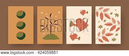 Set Of Contemporary Art Posters With Growing Tomato Plant. Small Tree In Ground, Tomato Fruit Cartoo