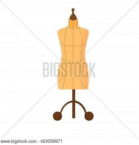 Beige Tailors Mannequin Sewing Dresses. Vector Illustration Isolated On White Background. For Use In