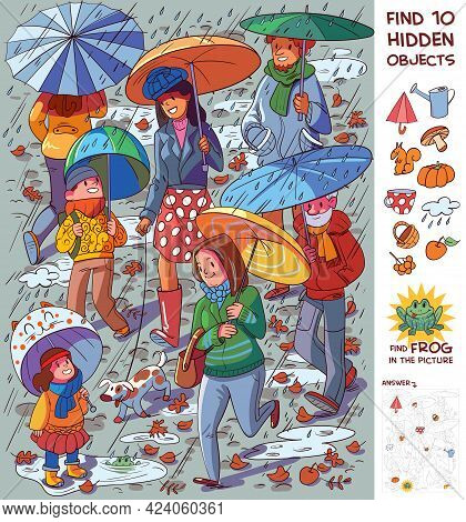 People With Umbrellas In The Rain. Find 10 Hidden Objects In The Picture. Puzzle Hidden Items. Funny