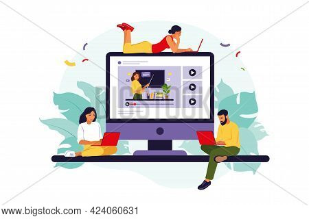 Group Of Students Watching Online Webinar. Online Education Concept. Online Business School Concept.