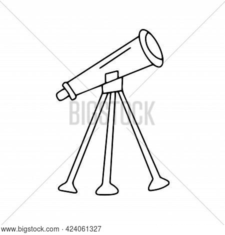 Telescope. Study Of The Night Sky. Optical Instrument For Observing Stars And Space. Tripod. Black A