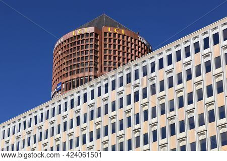 Lyon, France - March 6, 2015: Lyon State Administrative Cite Building With The Tower Of Part-dieu In