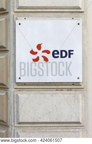 Lyon, France - August 15, 2016: Edf Logo On A Wall. Edf Is A French Electric Utility Company, Largel