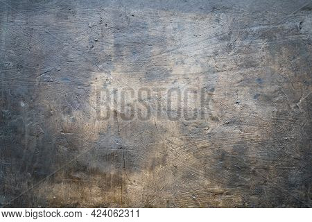 Grungy Dark Concrete Wall With Stucco, Background Photo Texture, Industrial Construction Backdrop