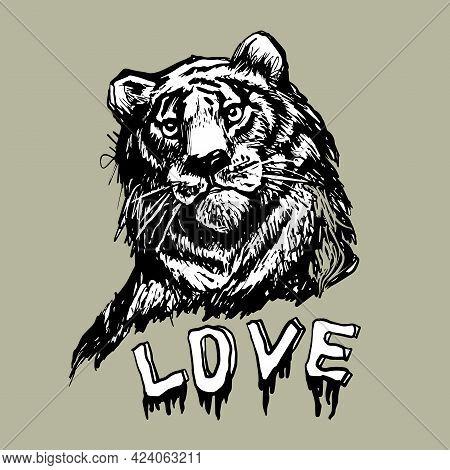 Tiger, Lion Face, Portrait. Drawn Black Line Art. Exotic, Predator Face Background, Print, Tattoo, L