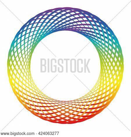 Rainbow Colored Ring, Torus, Circle, Hoop, Wheel, Like A Spirograph Drawing. Isolated Vector Illustr